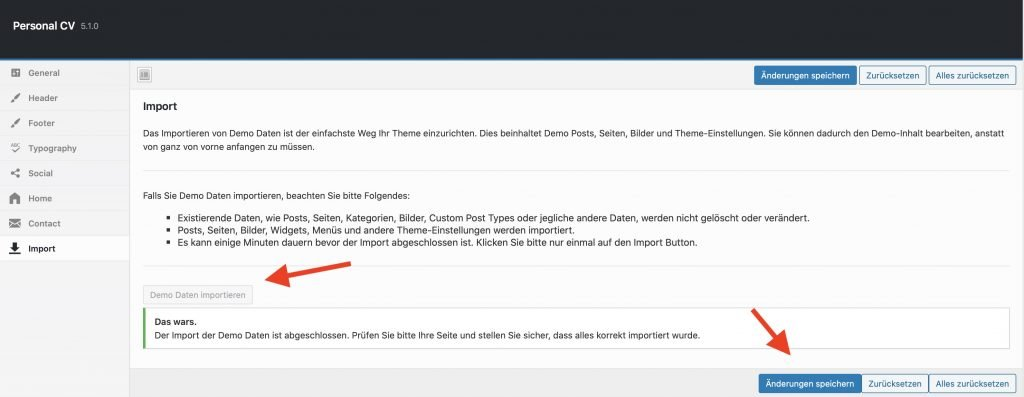 Damit du deinen Blog nicht von Null erstellen musst, importiere die Demo Dateien