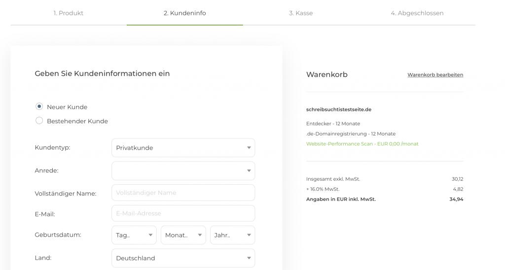 Kundendaten eingeben um Blog zu erstellen