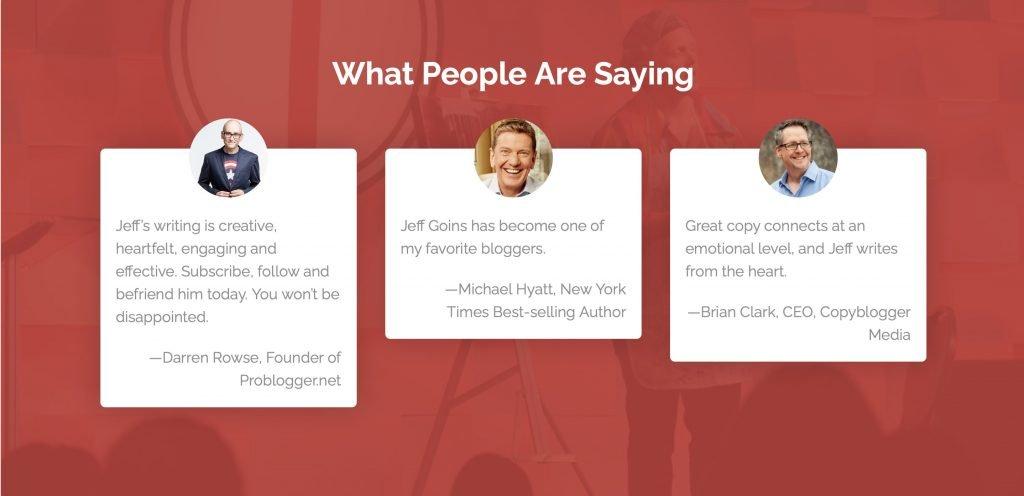 Landingpage erstellen mit Social Proof berühmter Menschen