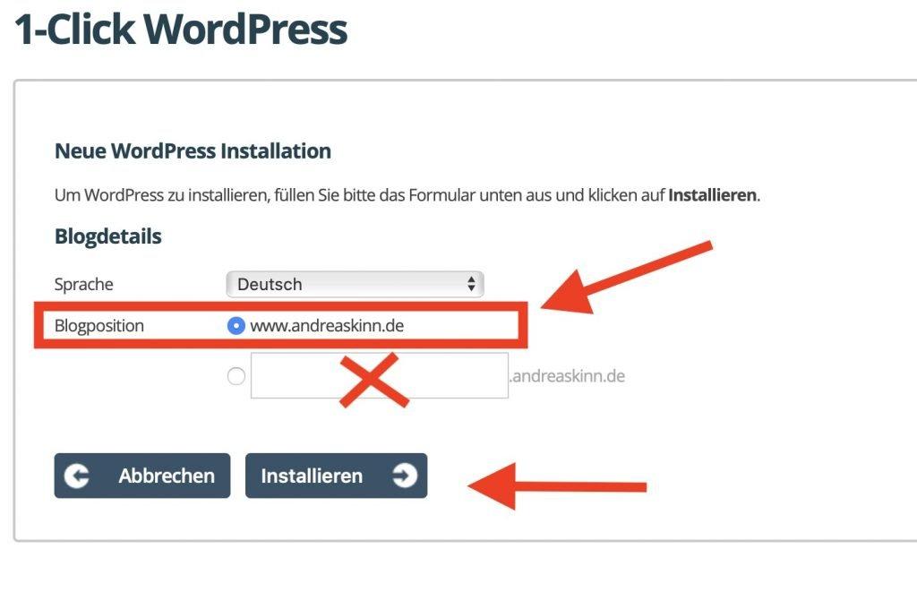 URL auswählen um einen Blog zu erstellen