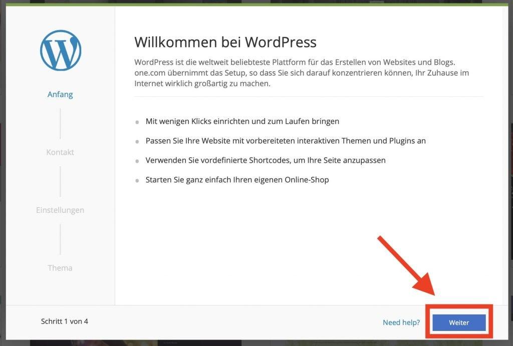 Willkommen bei WordPress um deinen Blog zu erstellen