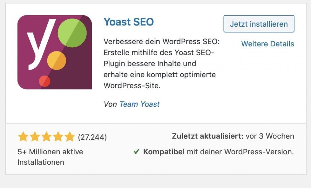 Yoast SEO auf deinem Blog installieren